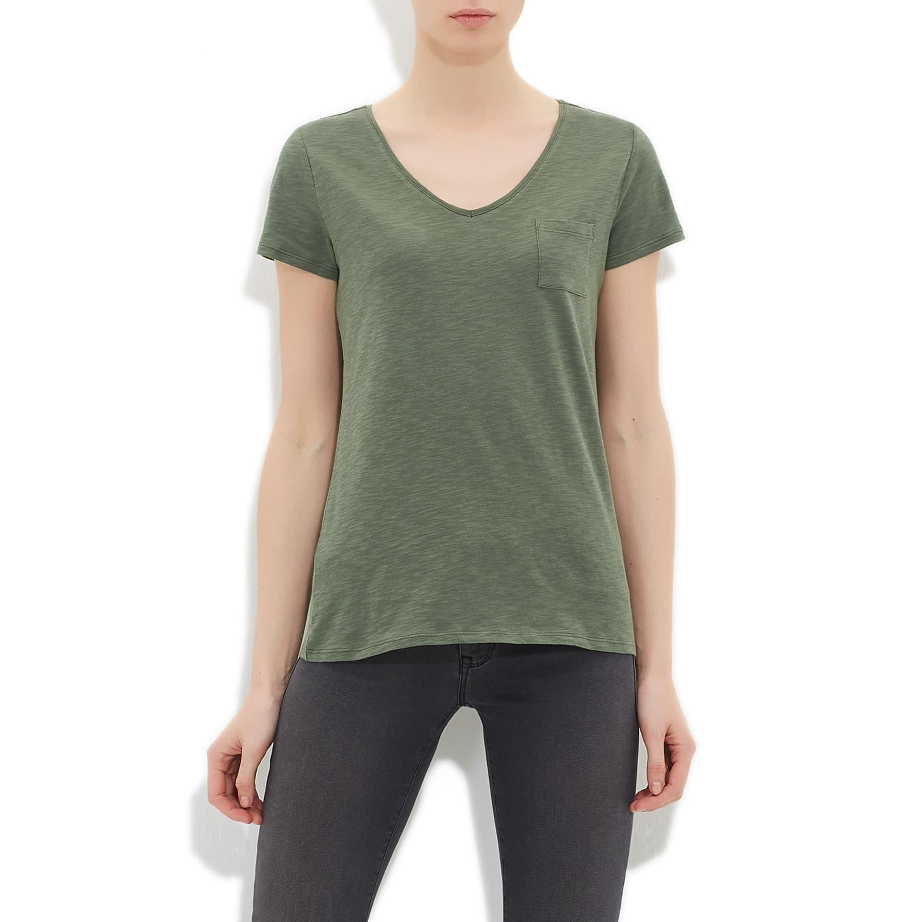 Mavi V Yaka Kadın Yosun Yeşili Basic Tişört