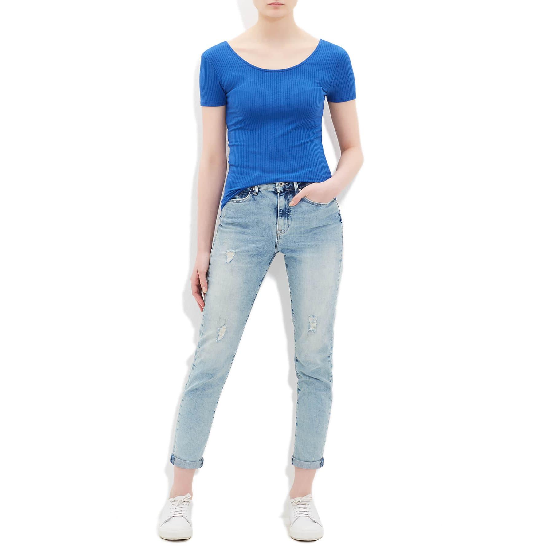 Mavi V Yaka Kadın Düz Mavi Basic Tişört