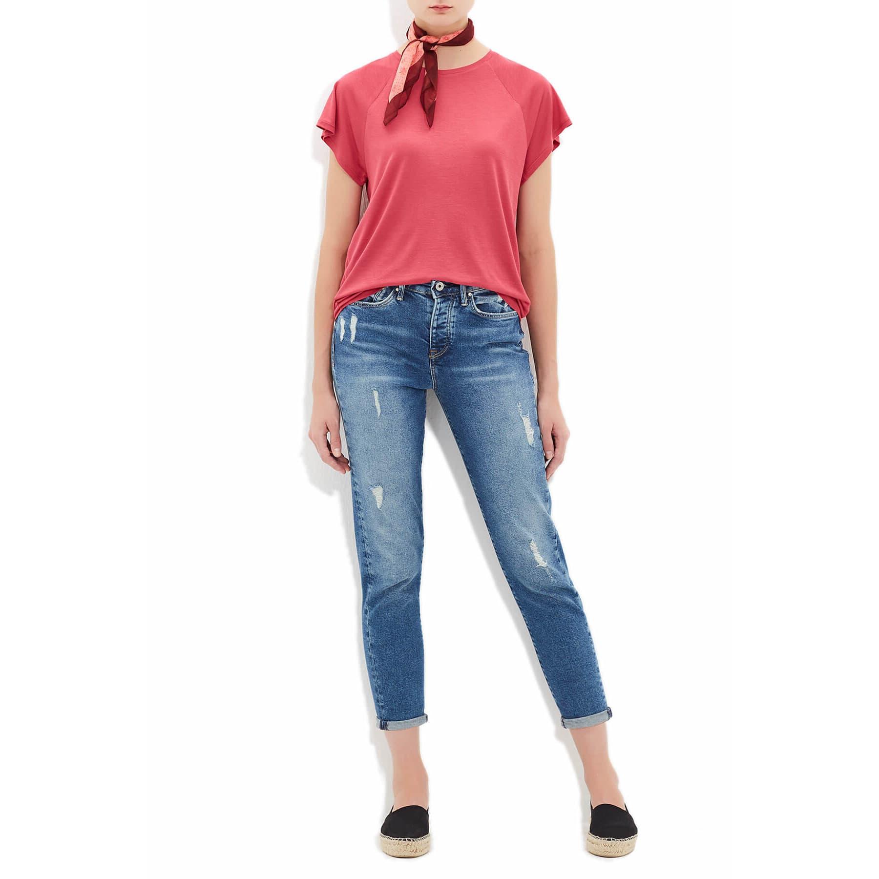 Mavi Yuvarlak Yaka Düz Bordo Kadın Basic Tişört