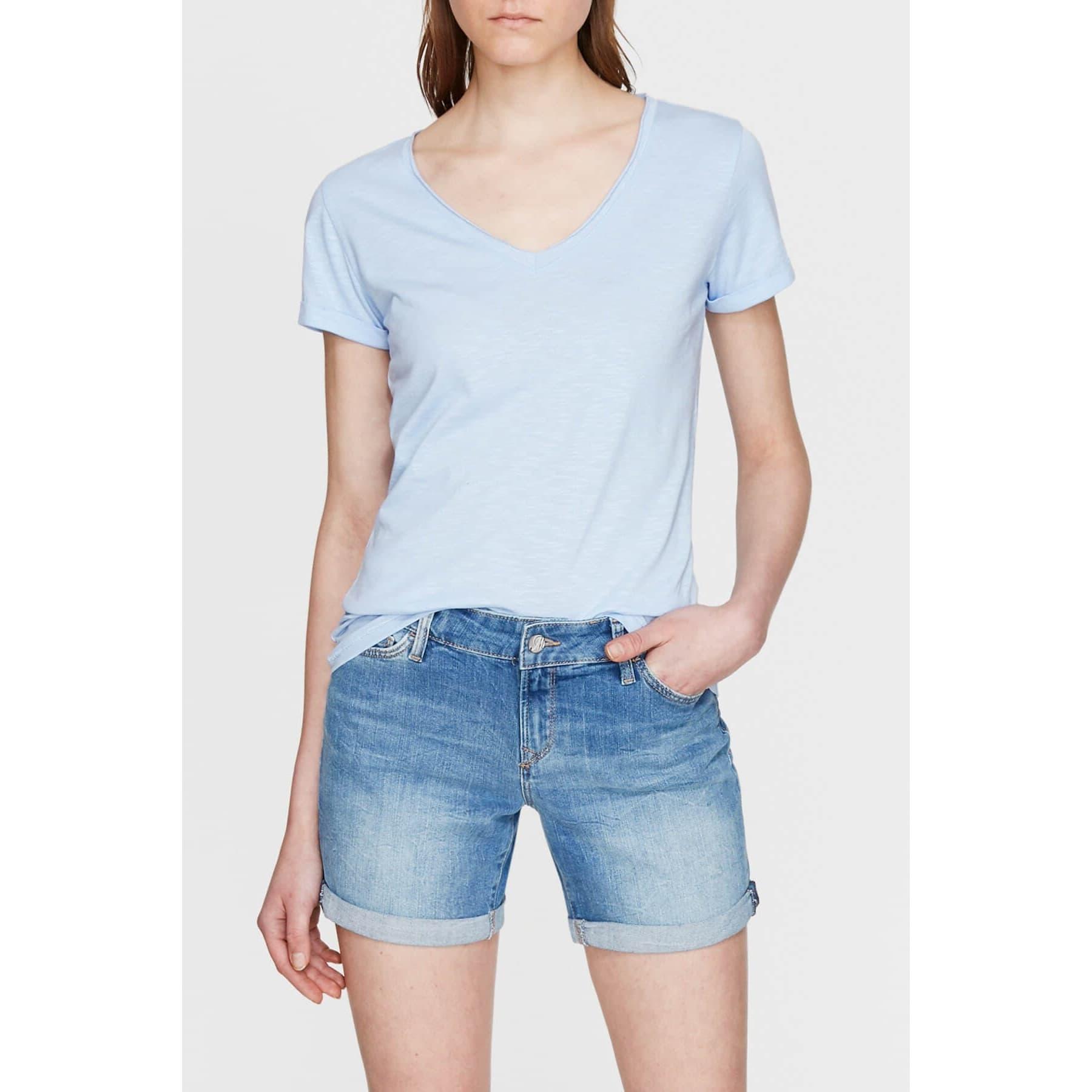Mavi Jeans Kadın V Yaka Buz Mavisi Basic Tişört