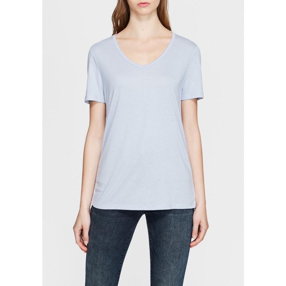 Mavi V Yaka Kadın Pus Mavisi Basic Tişört