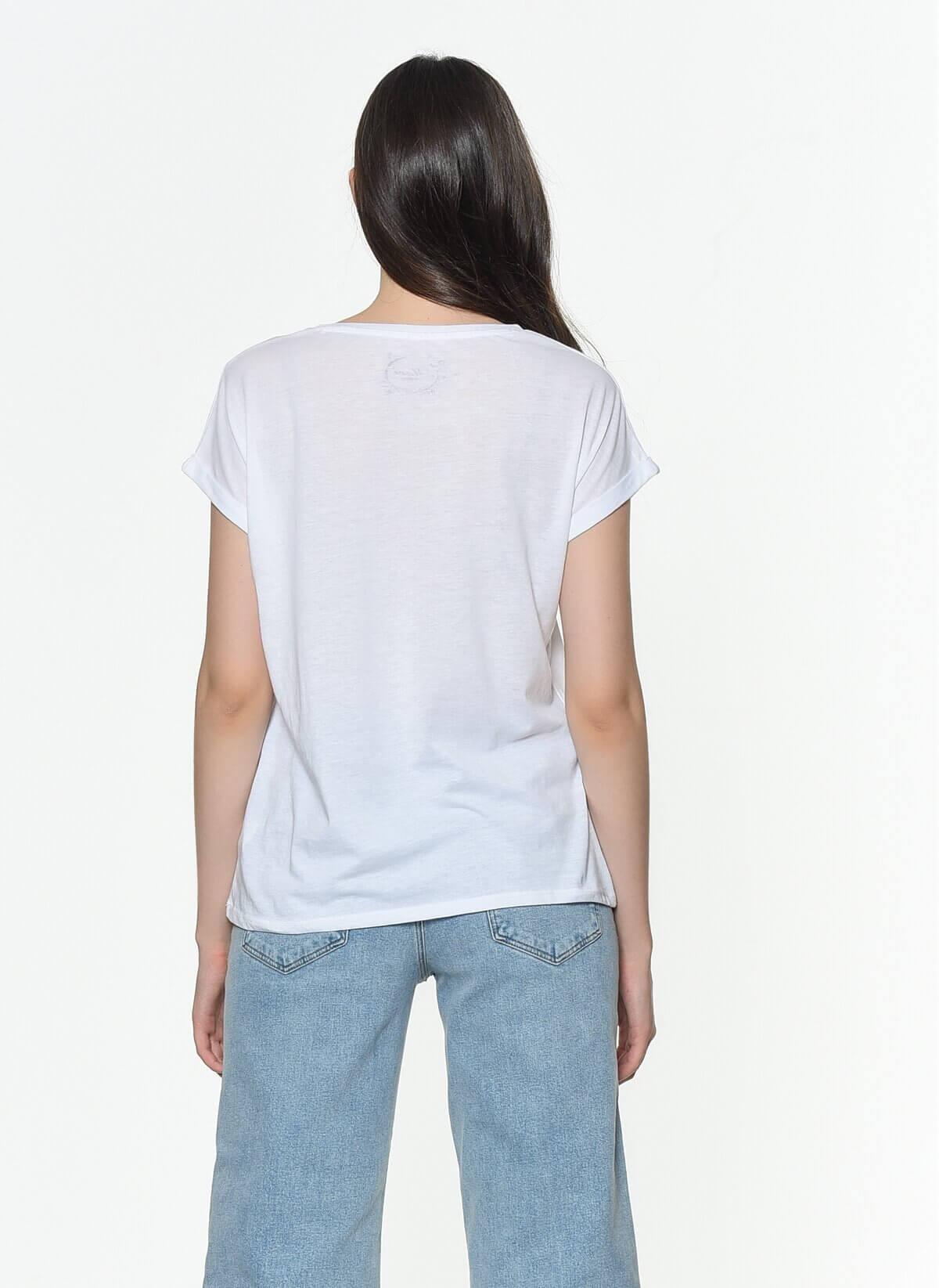 Mavi Jeans Kadın Baskılı Beyaz Tişört