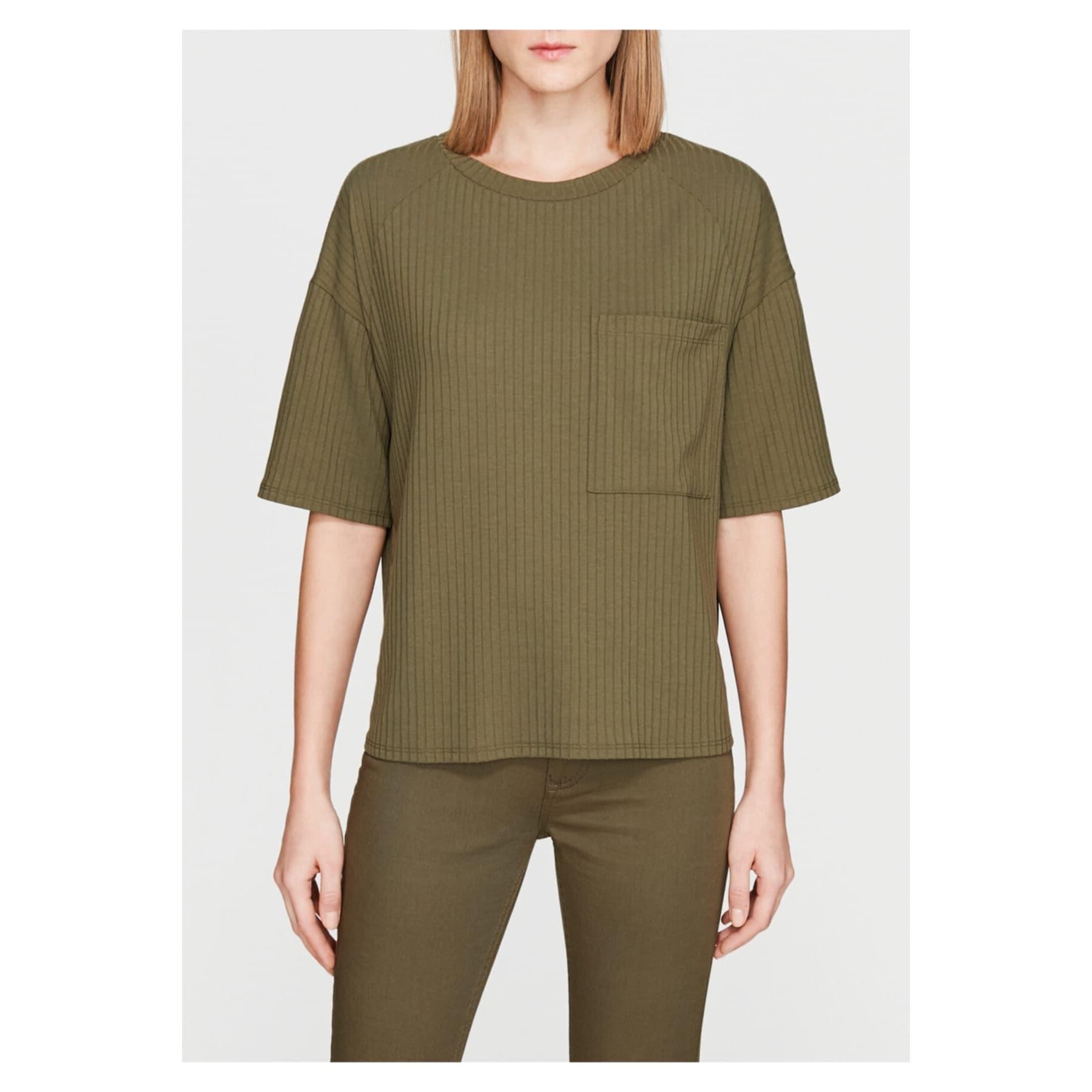 Cep Detaylı Kadın Yeşil Tişört