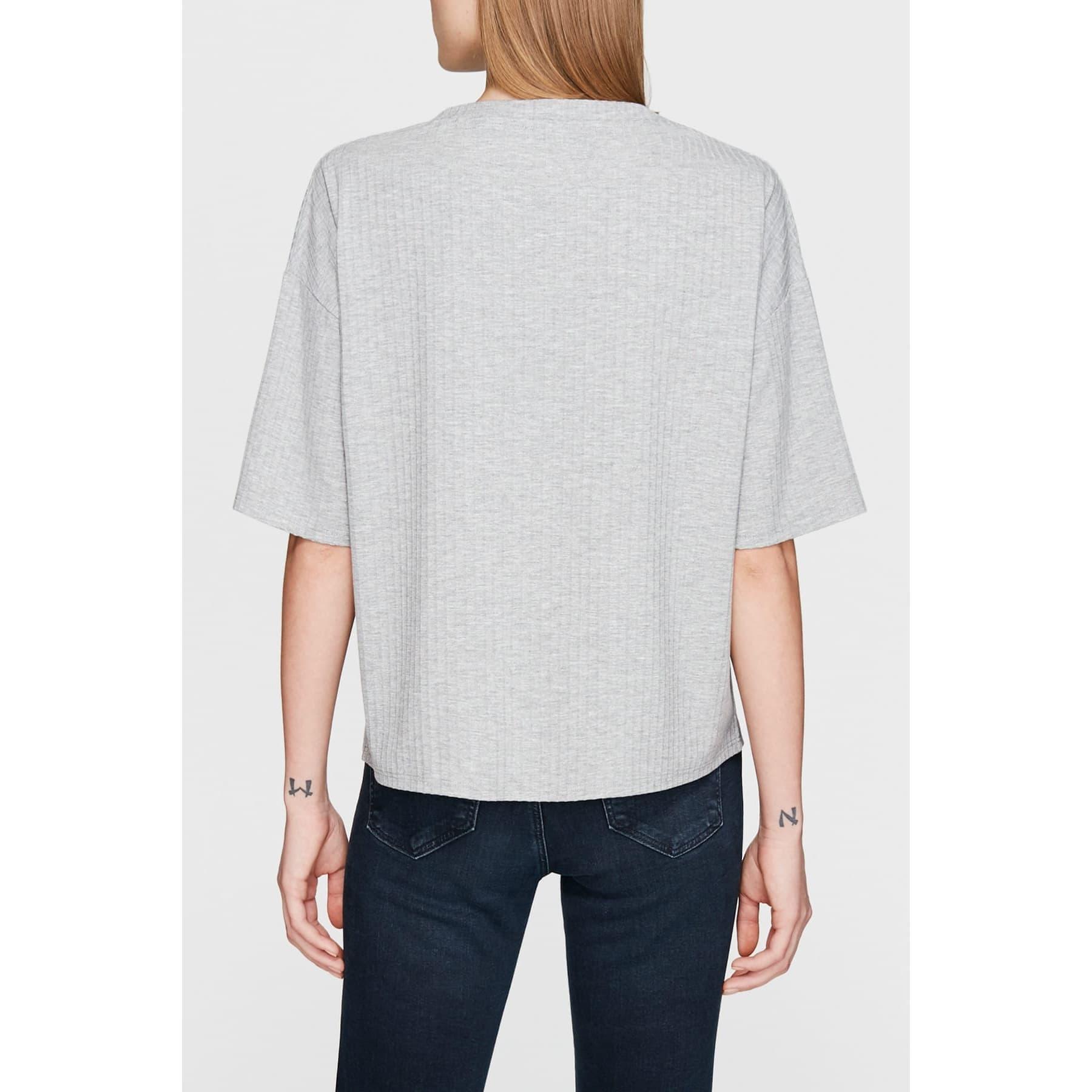 Cep Detaylı Kadın Gri Tişört
