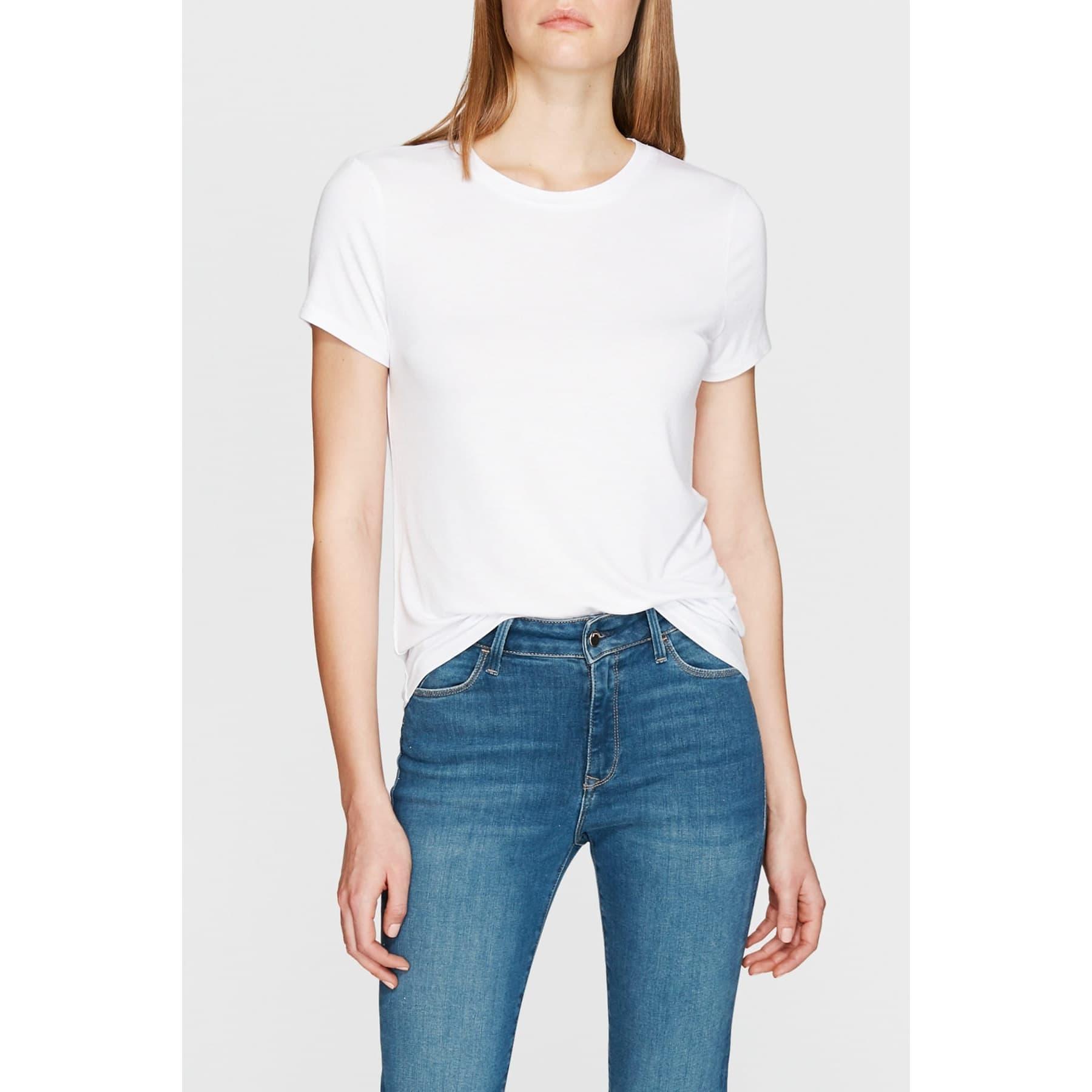 Mavi Bisiklet Yaka Kadın Düz Beyaz Tişört
