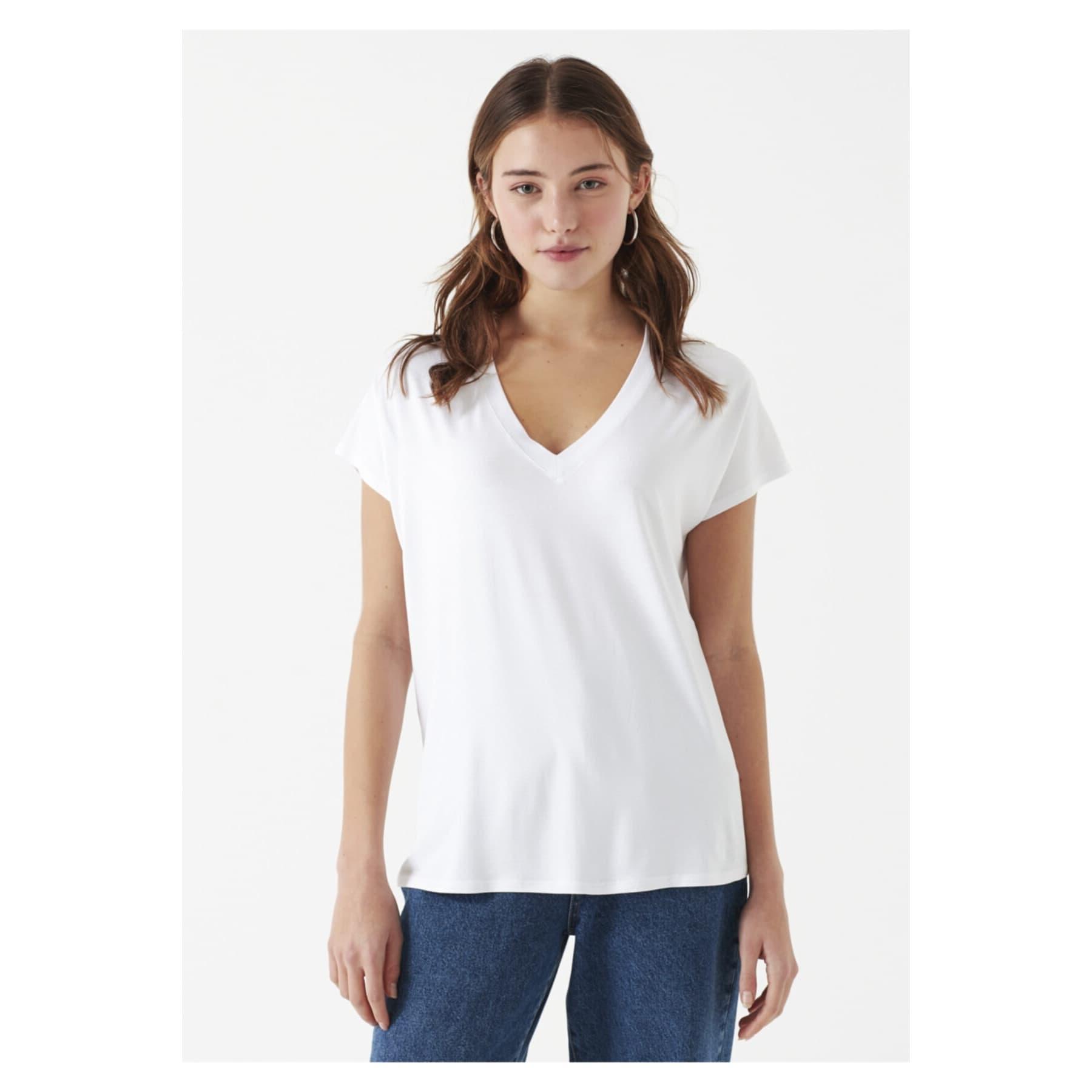 Mavi V Yaka Beyaz Oversize Basic Tişört