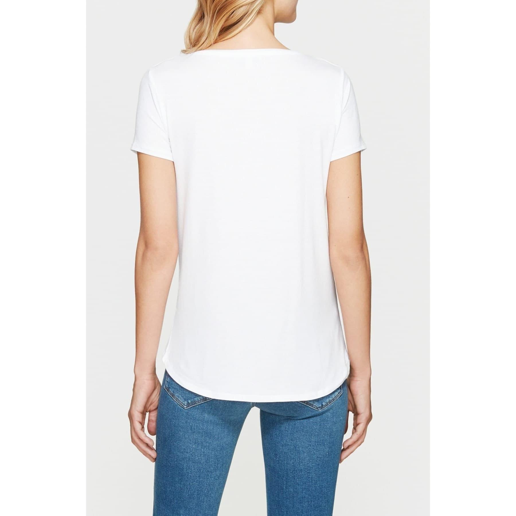 Mavi V Yaka Kadın Basic Düz Beyaz Tişört