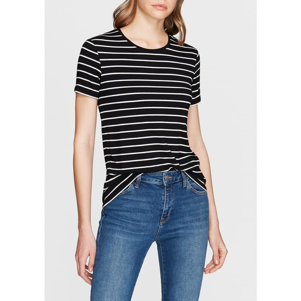 Mavi Basic Kadın Çizgili Siyah Tişört
