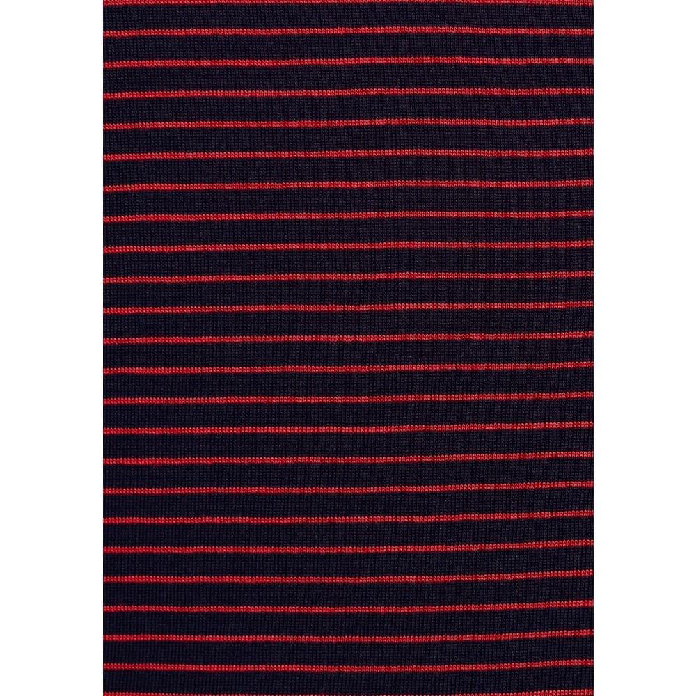 Mavi V Yaka Kadın Siyah Çizgili Bordo Basic Tişört