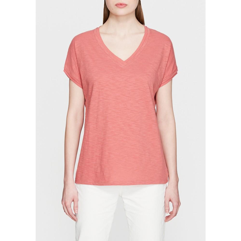 Mavi V Yaka Kadın Gül Pembesi Basic Tişört