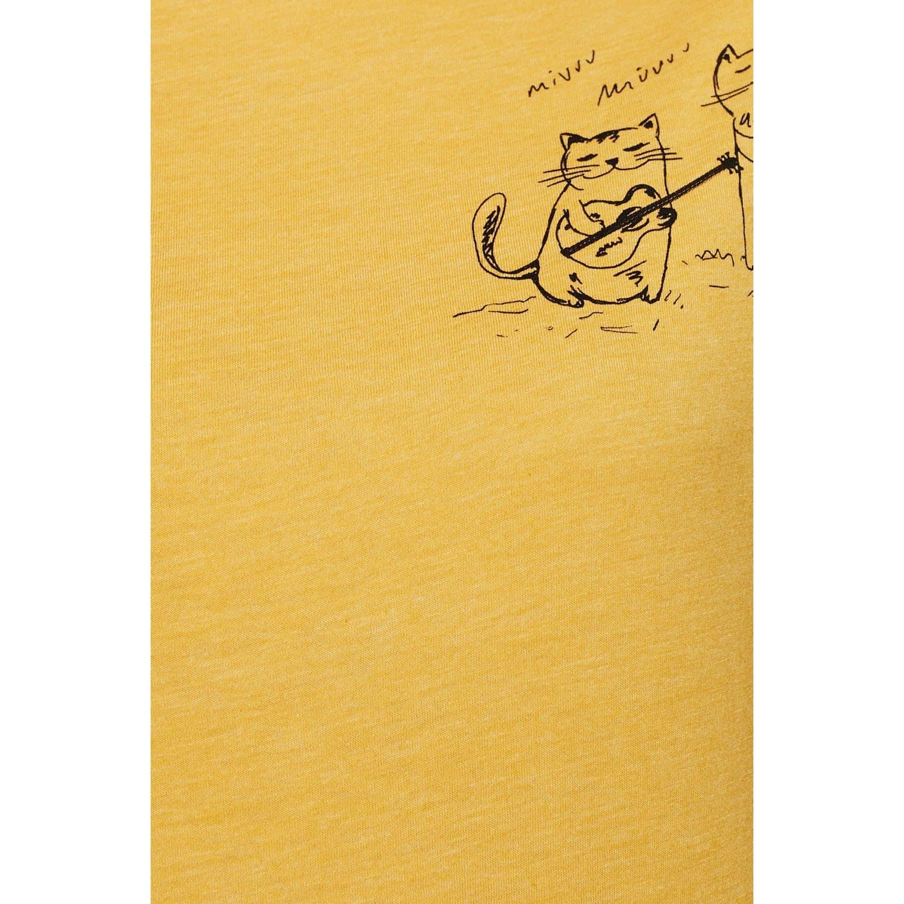 Mavi Jeans Kadın Kedi Baskılı Sarı Tişört