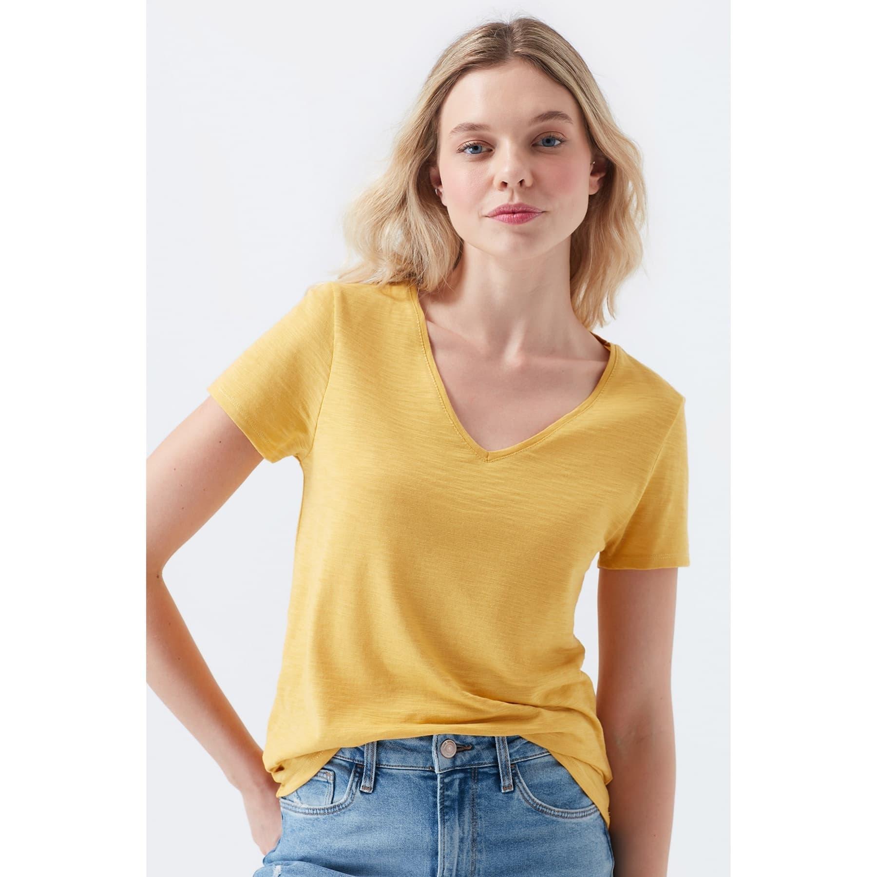 Mavi Jeans V Yaka Kadın Sarı Basic Tişört