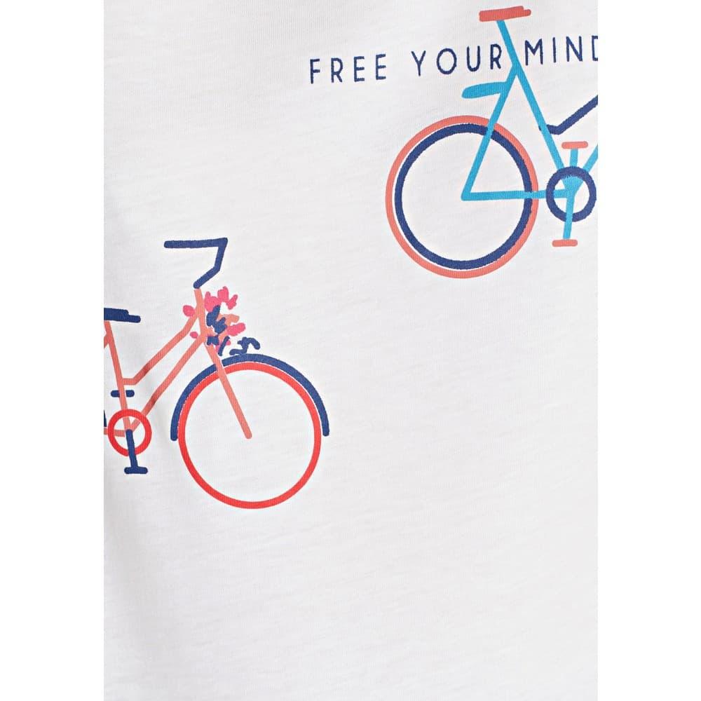 Mavi Jeans Bisiklet Baskılı Kadın Beyaz Tişört