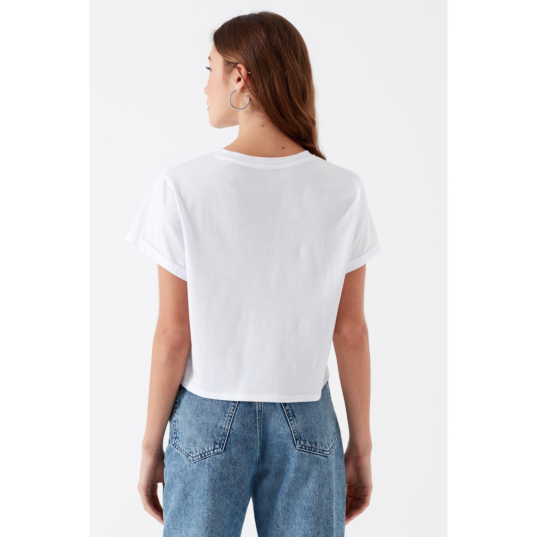 Mavi Baskılı Kadın Beyaz Tişört (168458-620)
