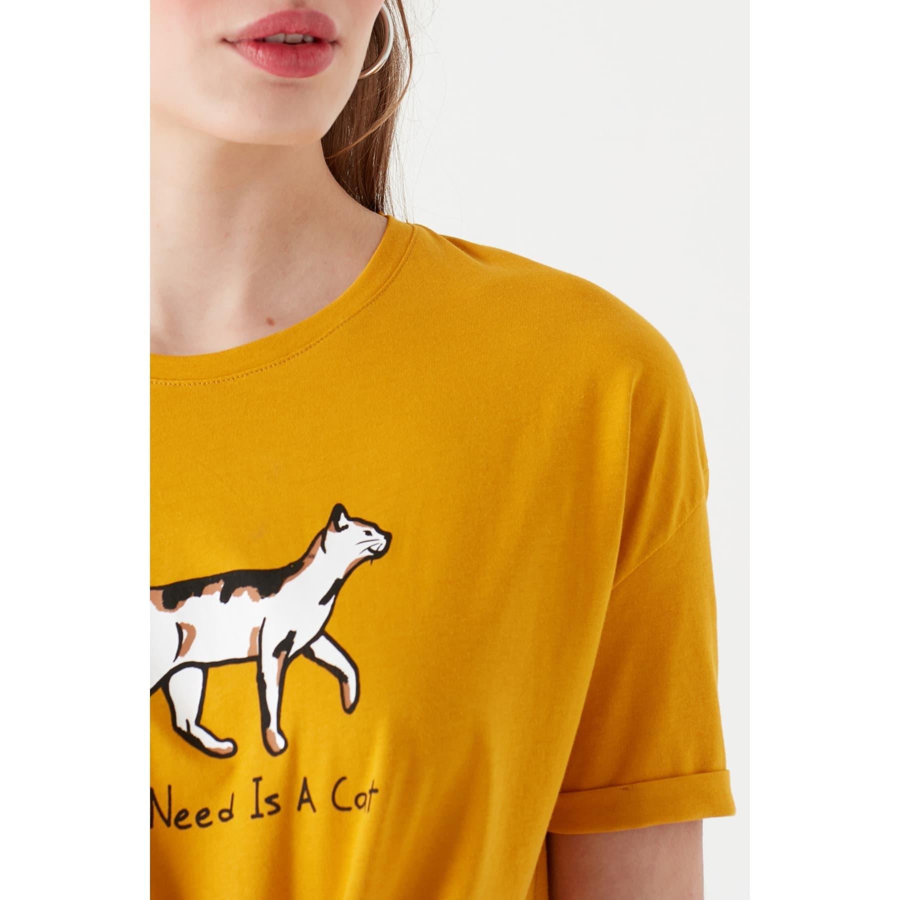 Kedi Baskili Penye Koyu Sarı