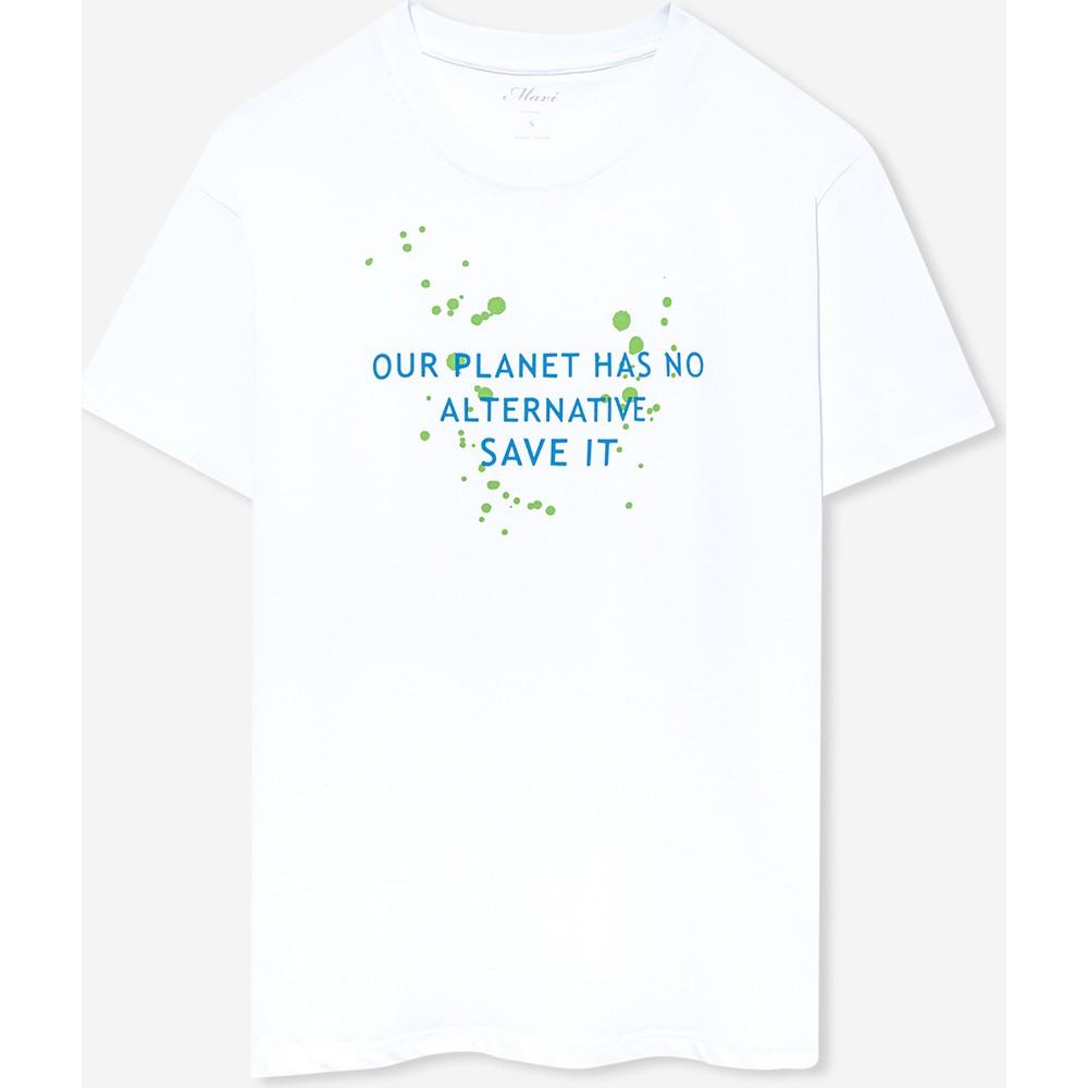 Doğa Dostu Planet Baskılı Kadın Beyaz Tişört