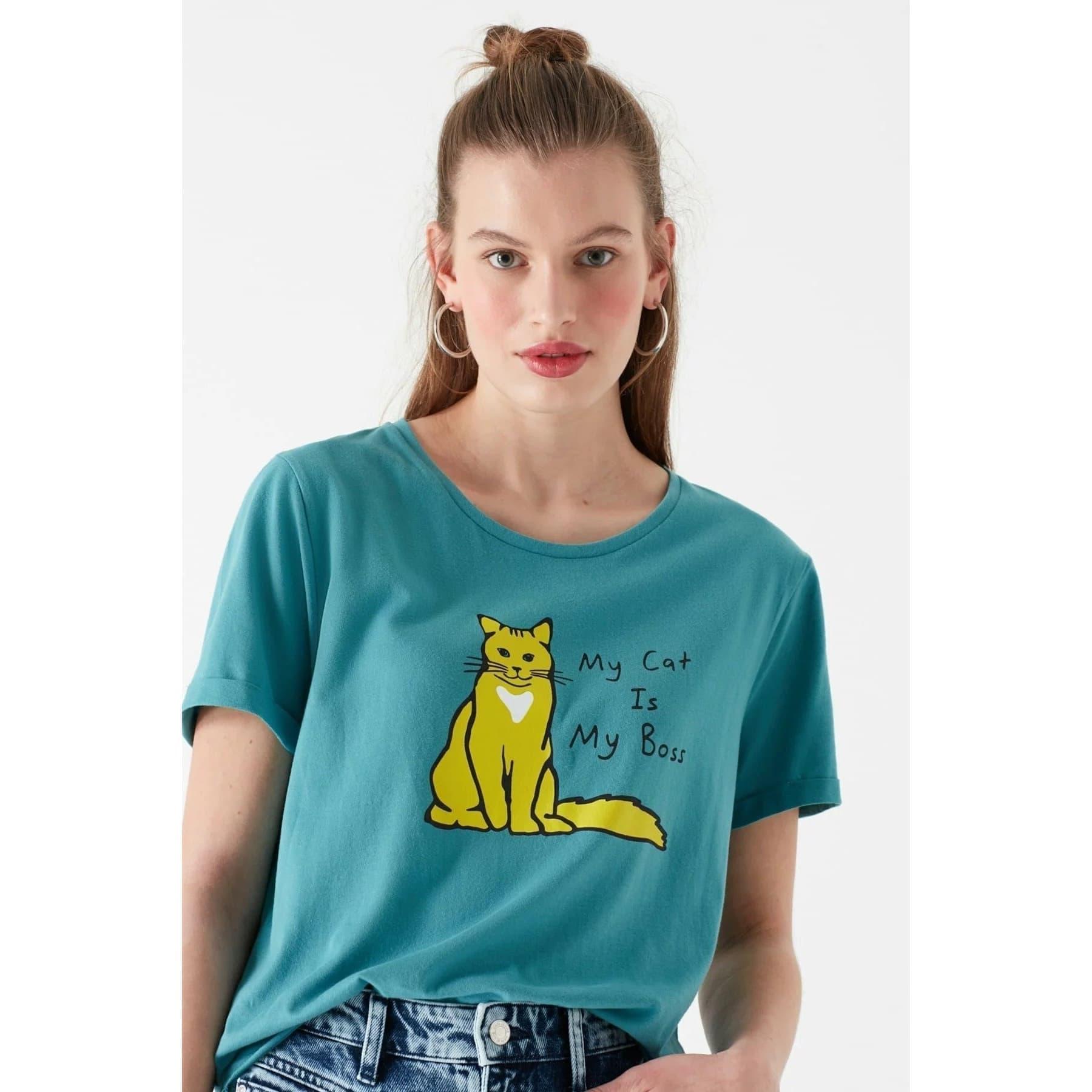 Kedi Baskili Penye Soluk Mavi