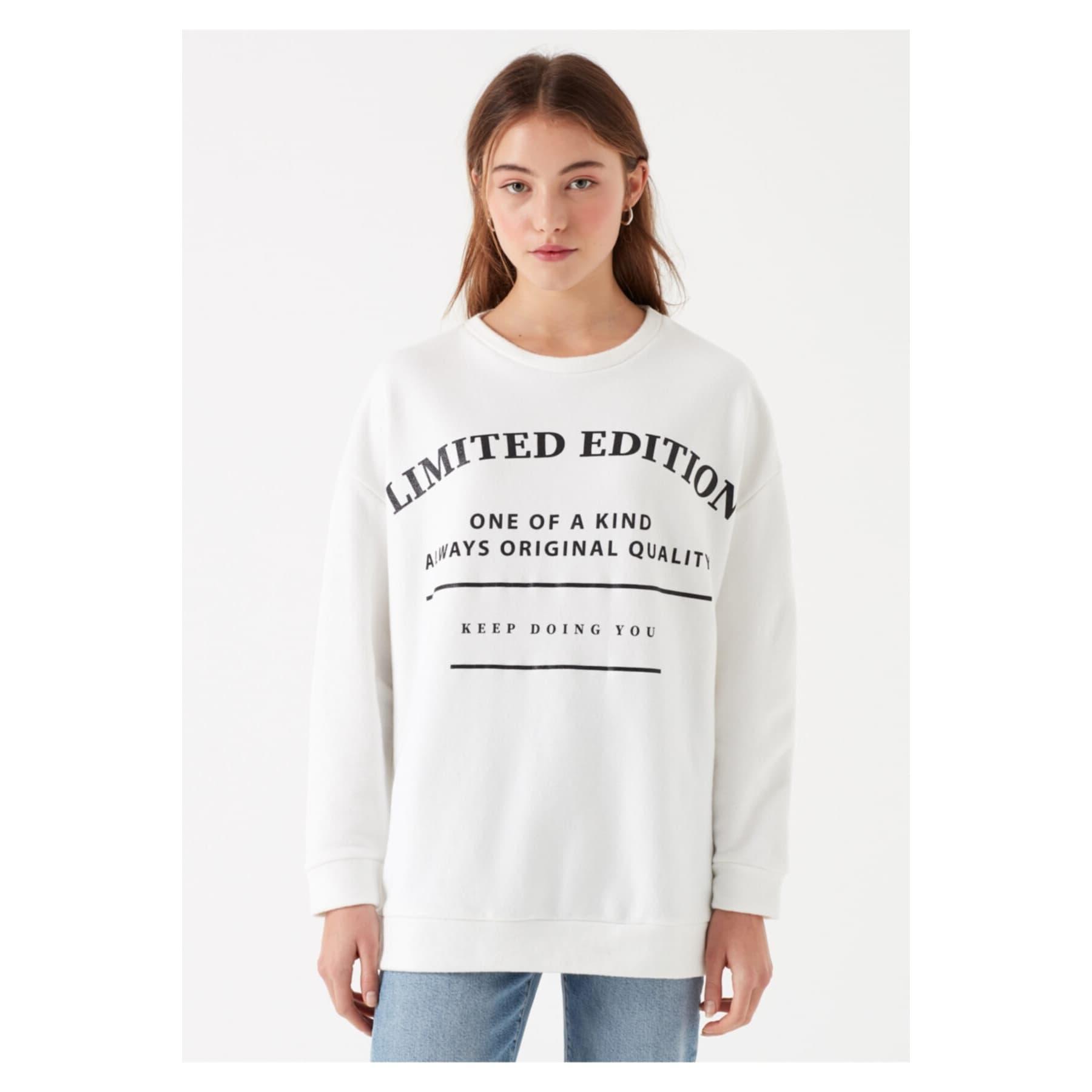 Limited Edition Baskılı Beyaz Sweatshirt (168548-620)