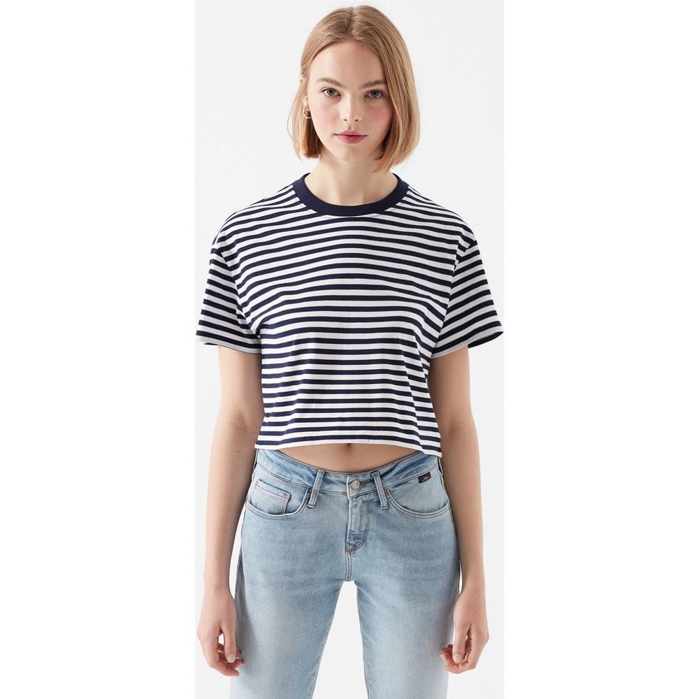 Çizgili Lacivert Kadın Crop Tişört