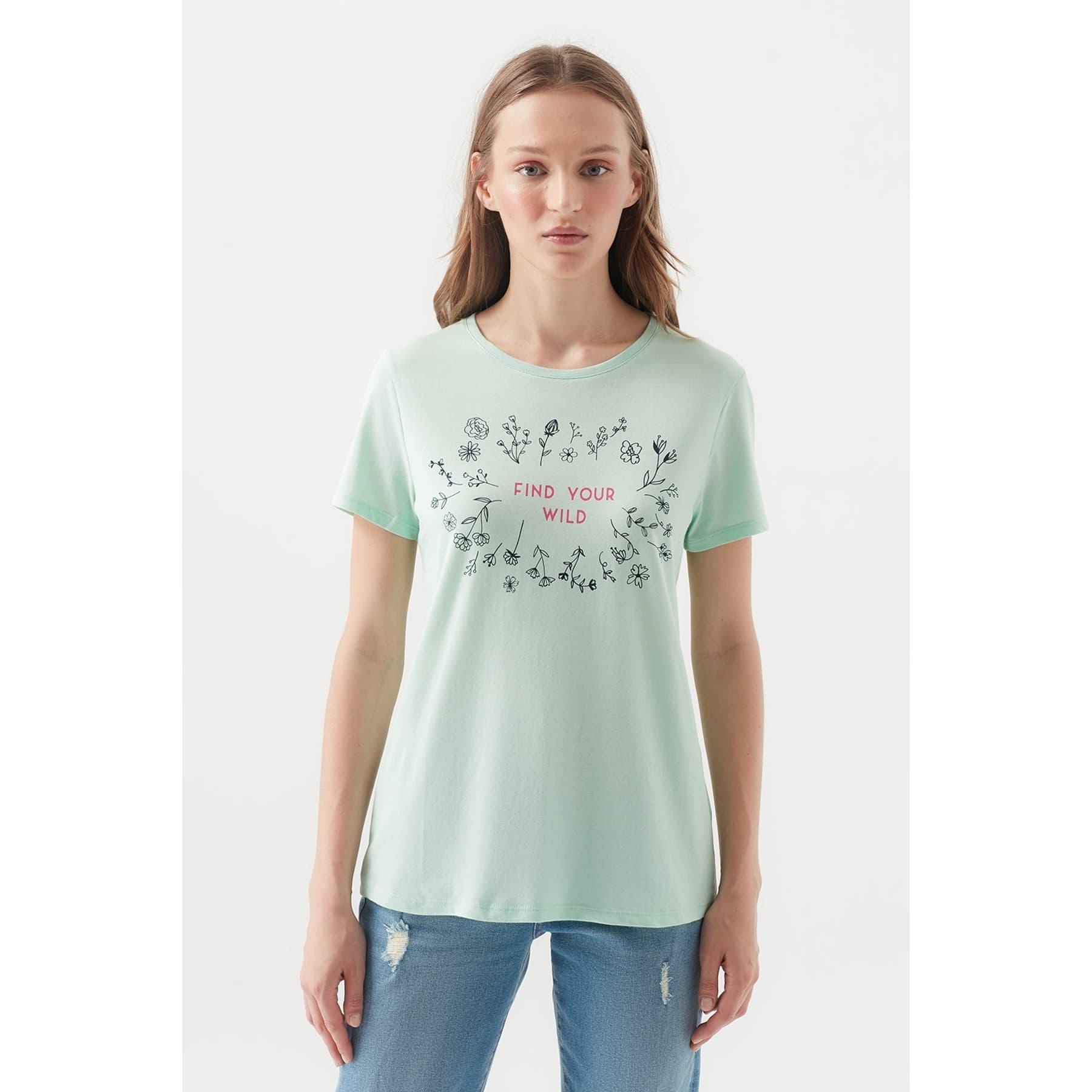 Find Your Wild Baskılı Kadın Yeşil Tişört
