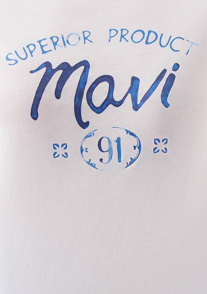 Mavi Logo Baskılı Kadın Beyaz Tişört