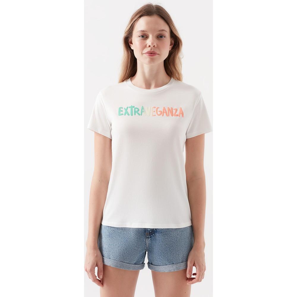 Doğa Dostu Extraveganza Baskılı Kadın Beyaz Tişört
