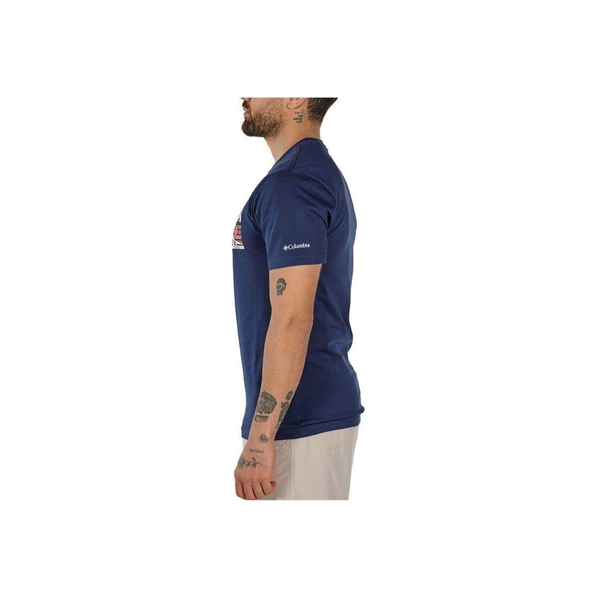 Elevated Outlook Graphic Erkek Mavi Tişört (CS0132_464)