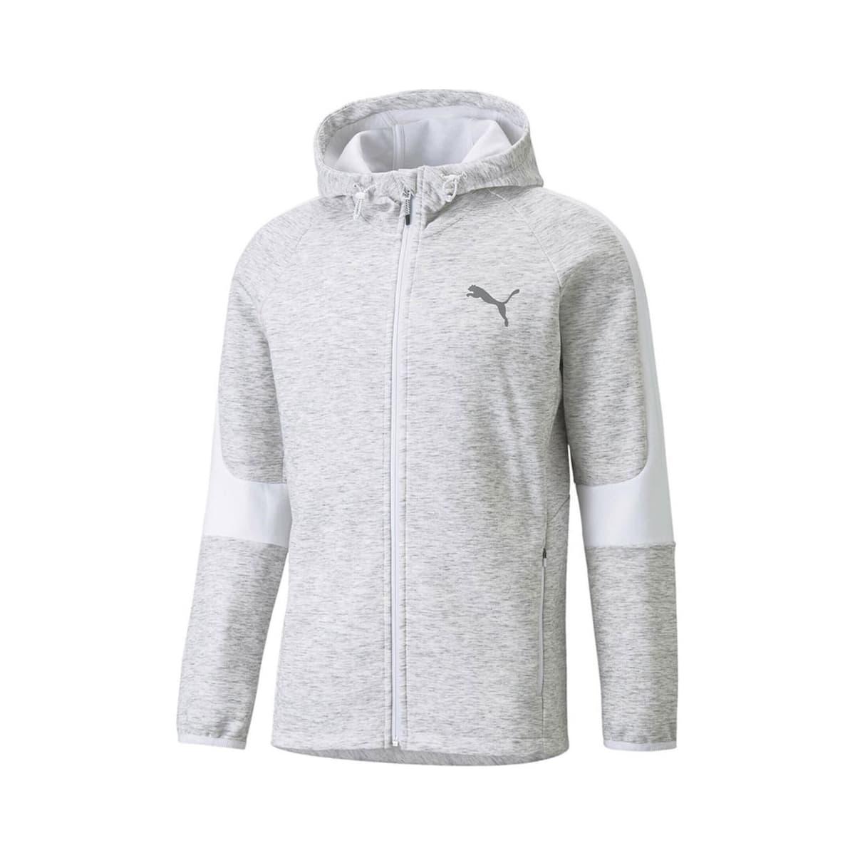 Evostripe Fermuarlı Kapüşonlu Erkek Beyaz Sweatshirt (589424-02)