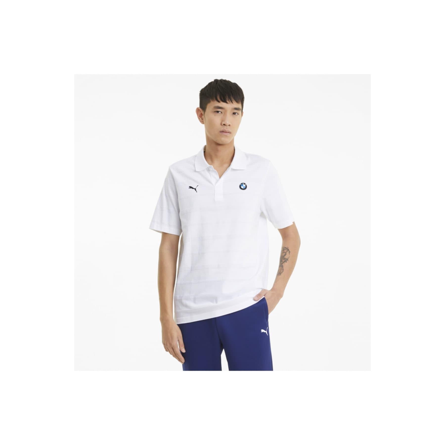 Bmw M Motorsport Striped Erkek Beyaz Tişört (599524-02)