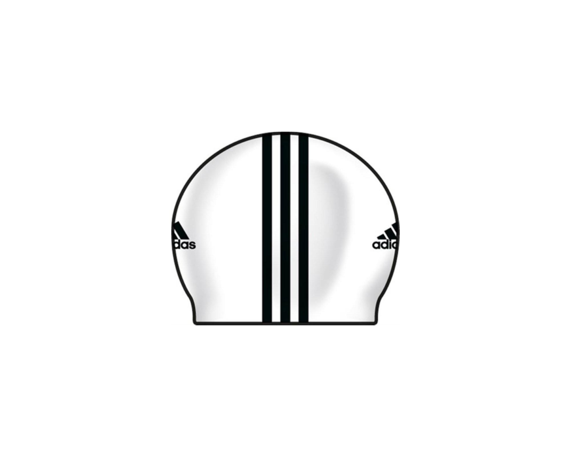 3-Stripes Beyaz Silikon Yüzücü Bonesi