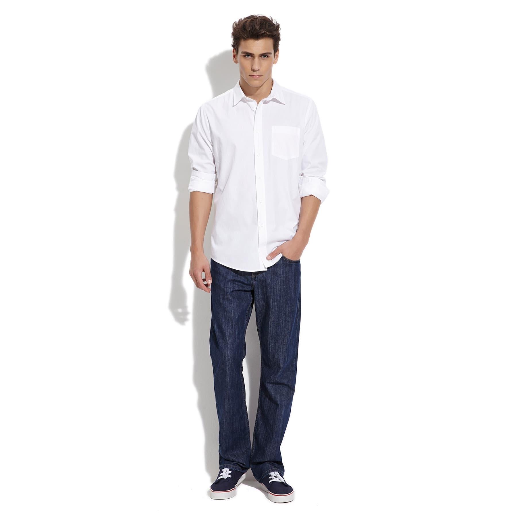 Cepli Erkek Düz Beyaz Gömlek