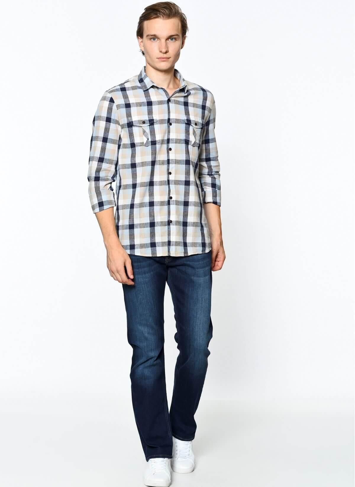 Hunter Erkek Zımparalı Mavi Kot Pantolon