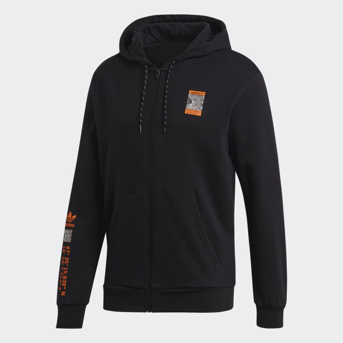 Adventure Full-Zip Erkek Siyah Kapüşonlu Sweatshirt