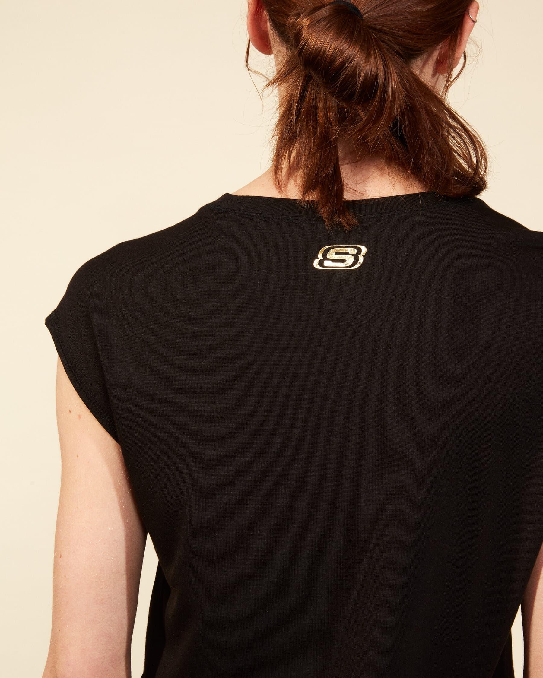 Graphic Bisiklet Yaka Kadın Siyah Tişört (S211289-001)
