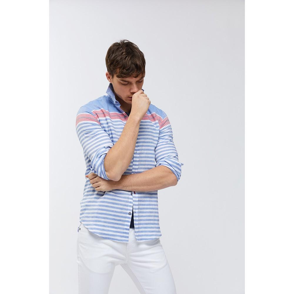 Çizgili Düğmeli Yaka Slim Fit Erkek Gömlek (A91Y2064-02)