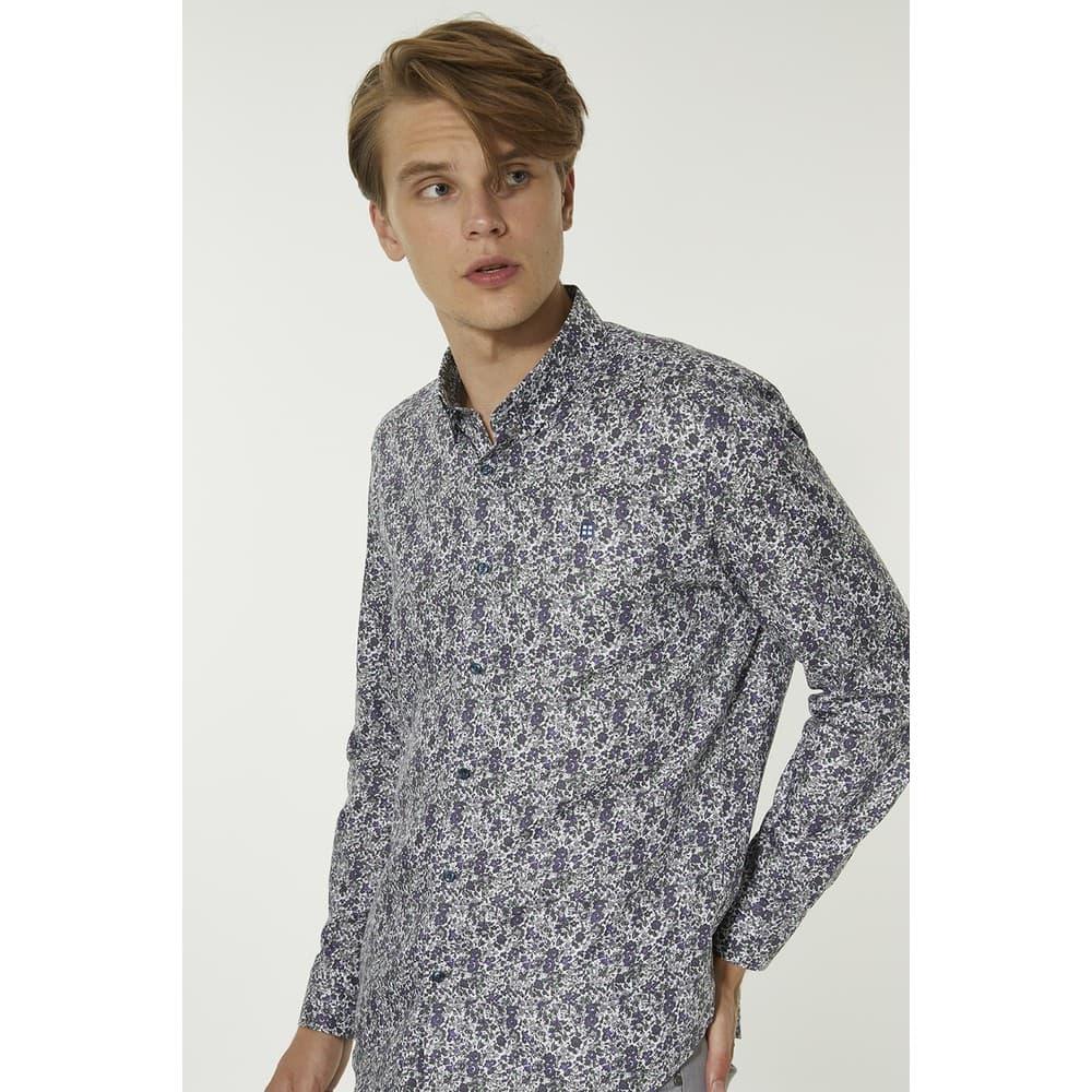 Baskılı Alttan Britli Yaka Slim Fit Erkek Gömlek (A92Y2052-40)