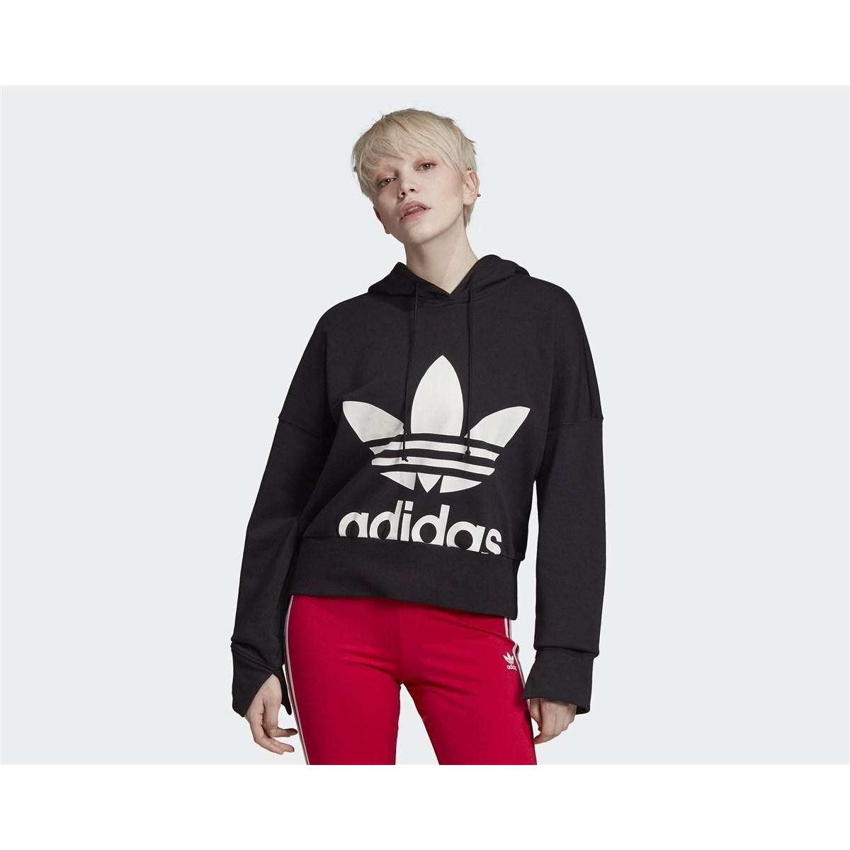 Cropped Kadın Siyah Sweatshirt