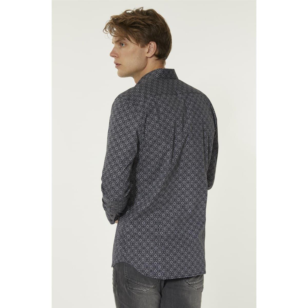 Baskılı Alttan Britli Yaka Slim Fit Erkek Gömlek (A92Y2080-03)