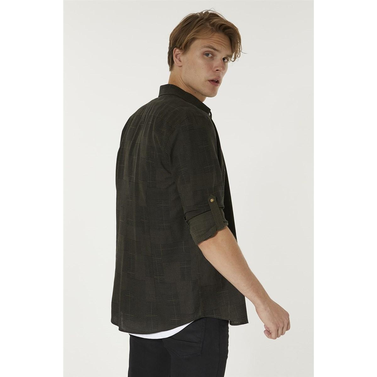 Baskılı Düğmeli Yaka Slim Fit Erkek Gömlek (A92Y2041-67)