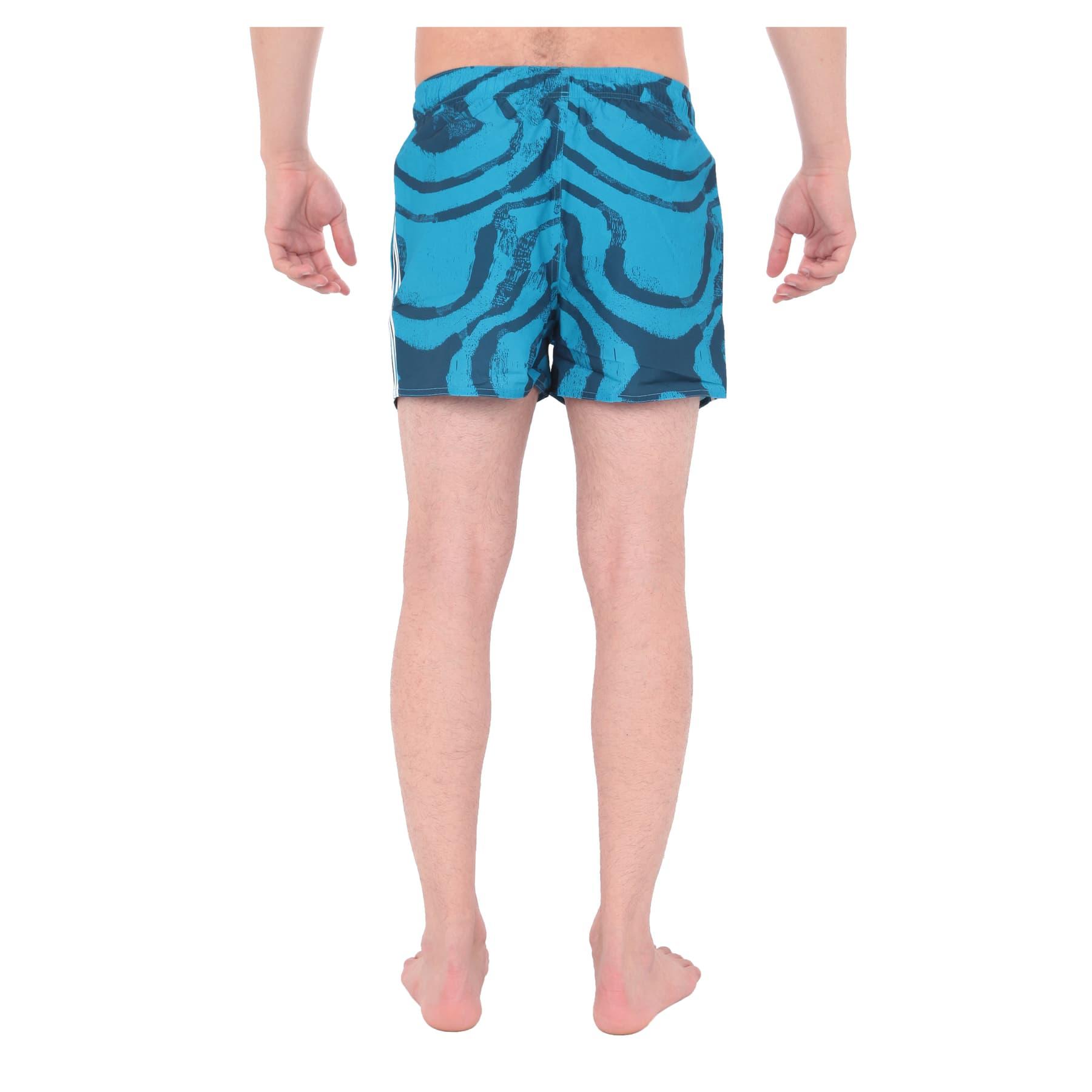 3 Bantlı Desenli Mavi Erkek Yüzücü Şortu