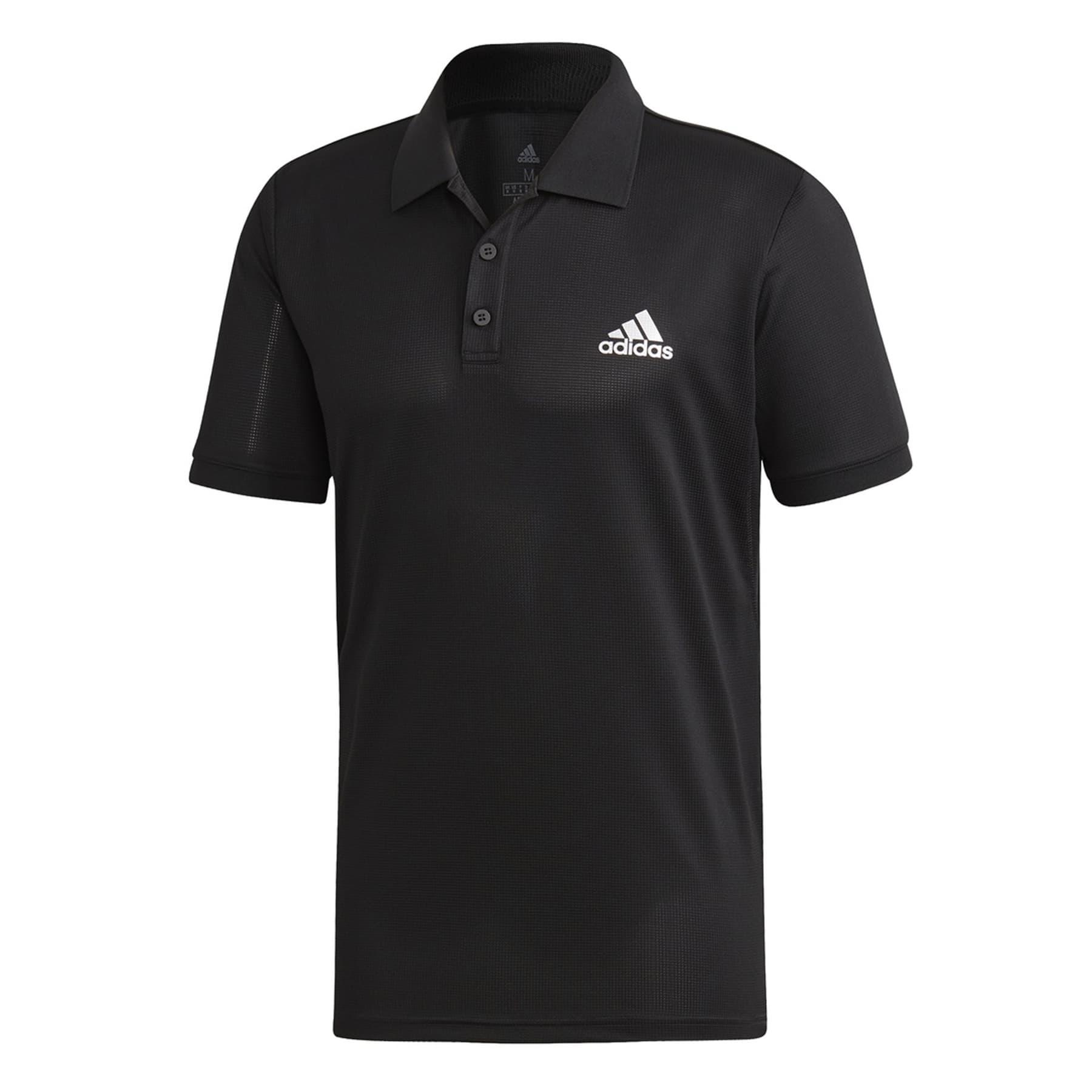 Club Solid Polo Yaka Erkek Siyah Spor Tişört