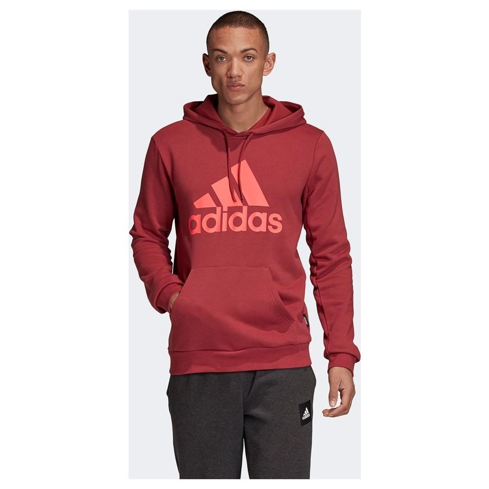 Badge Of Sport French Terry Kapüşonlu Erkek Bordo Sweatshirt