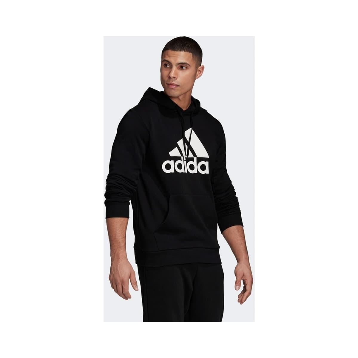 Badge of Sport French Terry Kapüşonlu Erkek Siyah Sweatshirt
