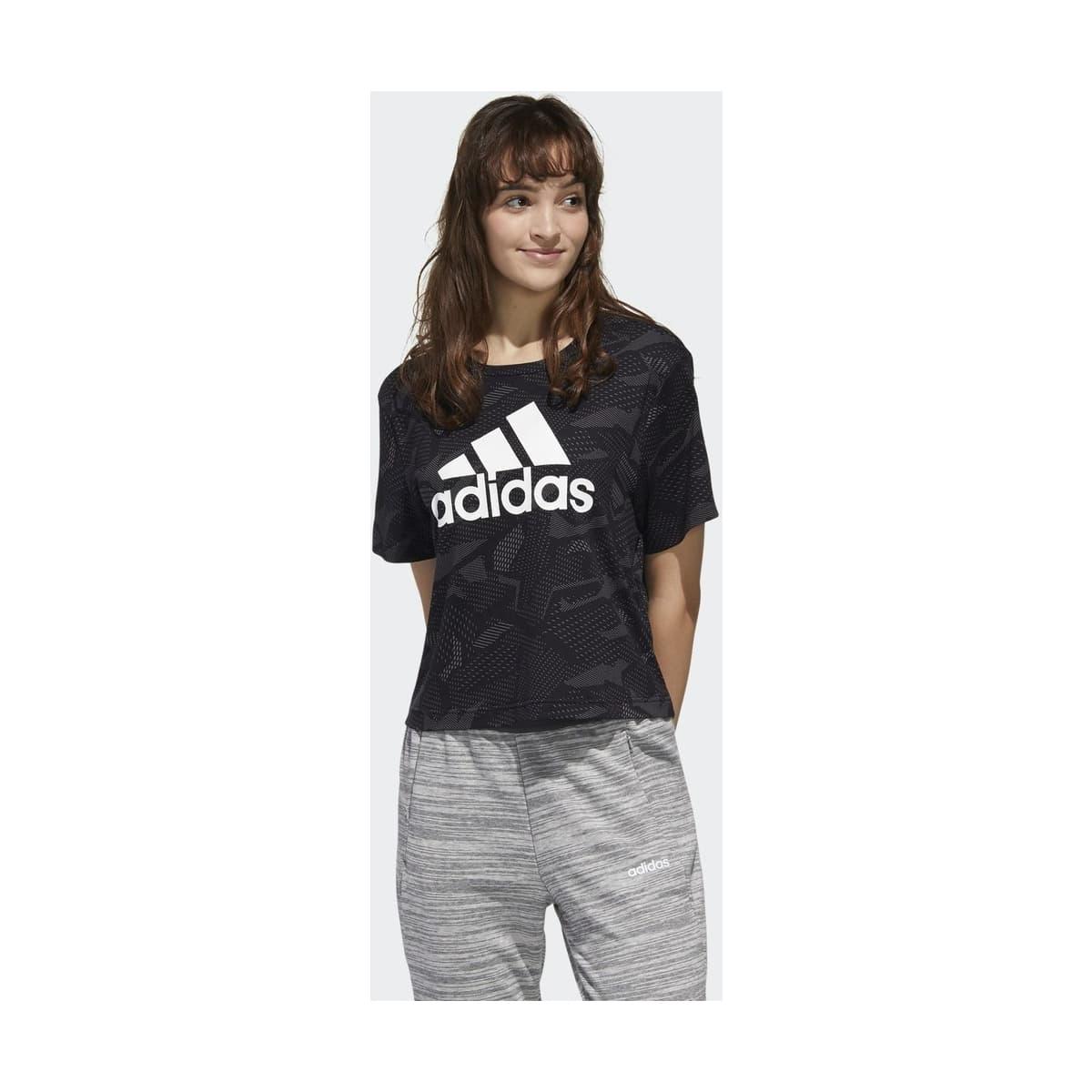 Essentials Allover Print Kadın Siyah Tişört (GE1137)