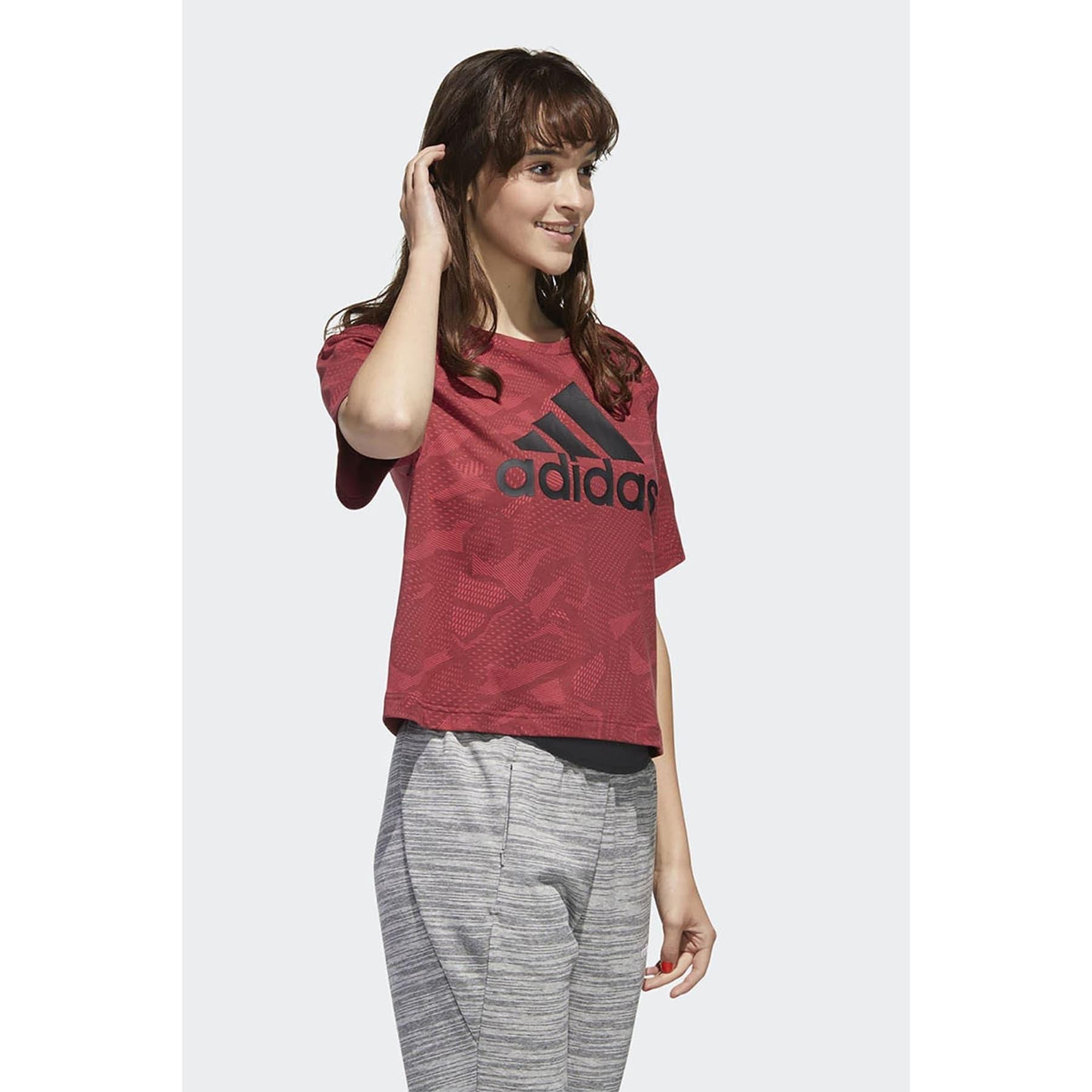 Essentials Allover Print Kadın Kırmızı Tişört (GE1142)
