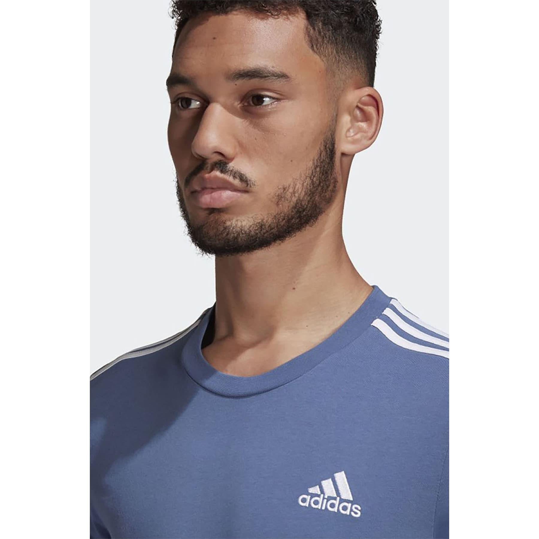 Essentials 3 Bantlı Erkek Mavi Tişört (GK9135)