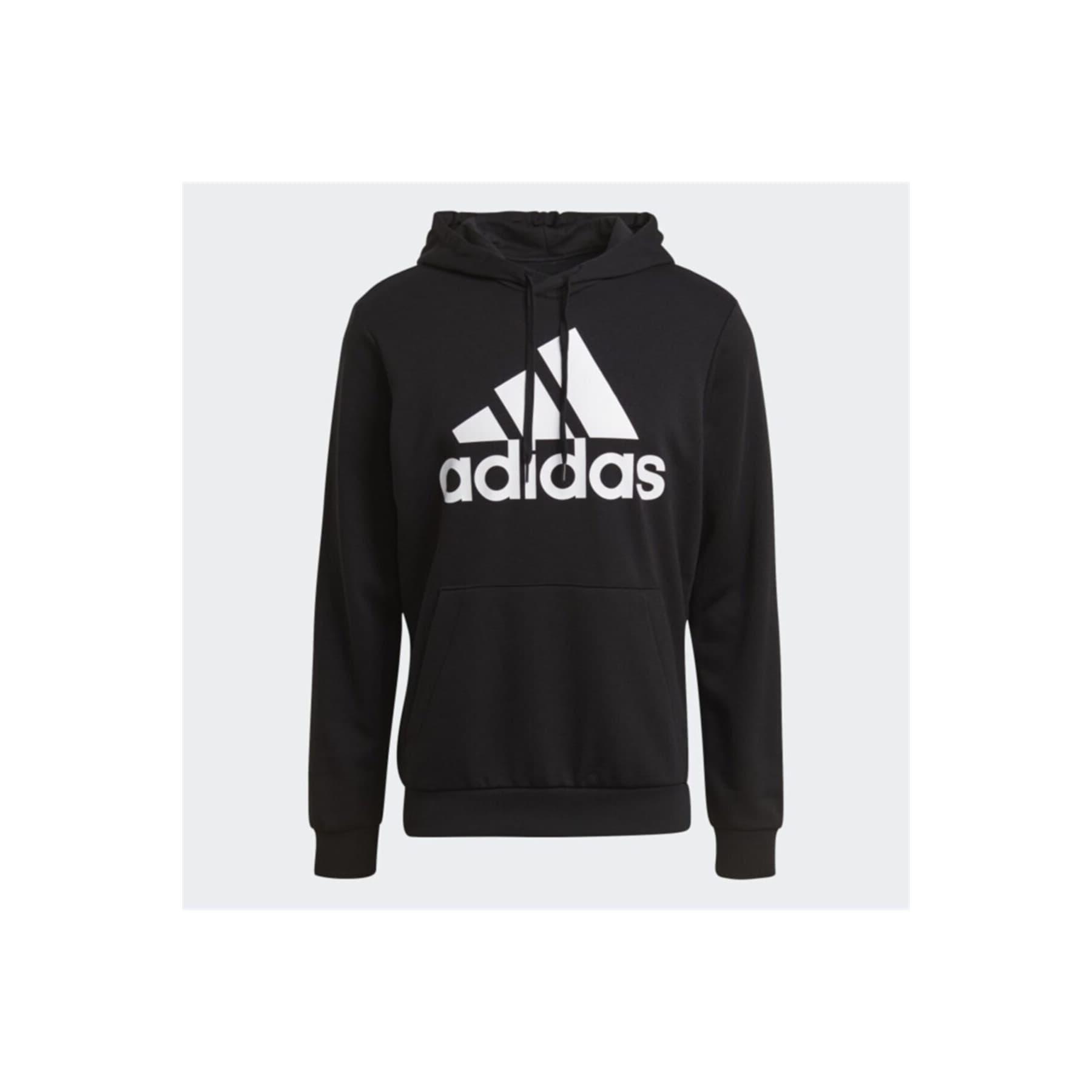 Essentials Big Logo Erkek Siyah Kapüşonlu Sweatshirt (GK9540)