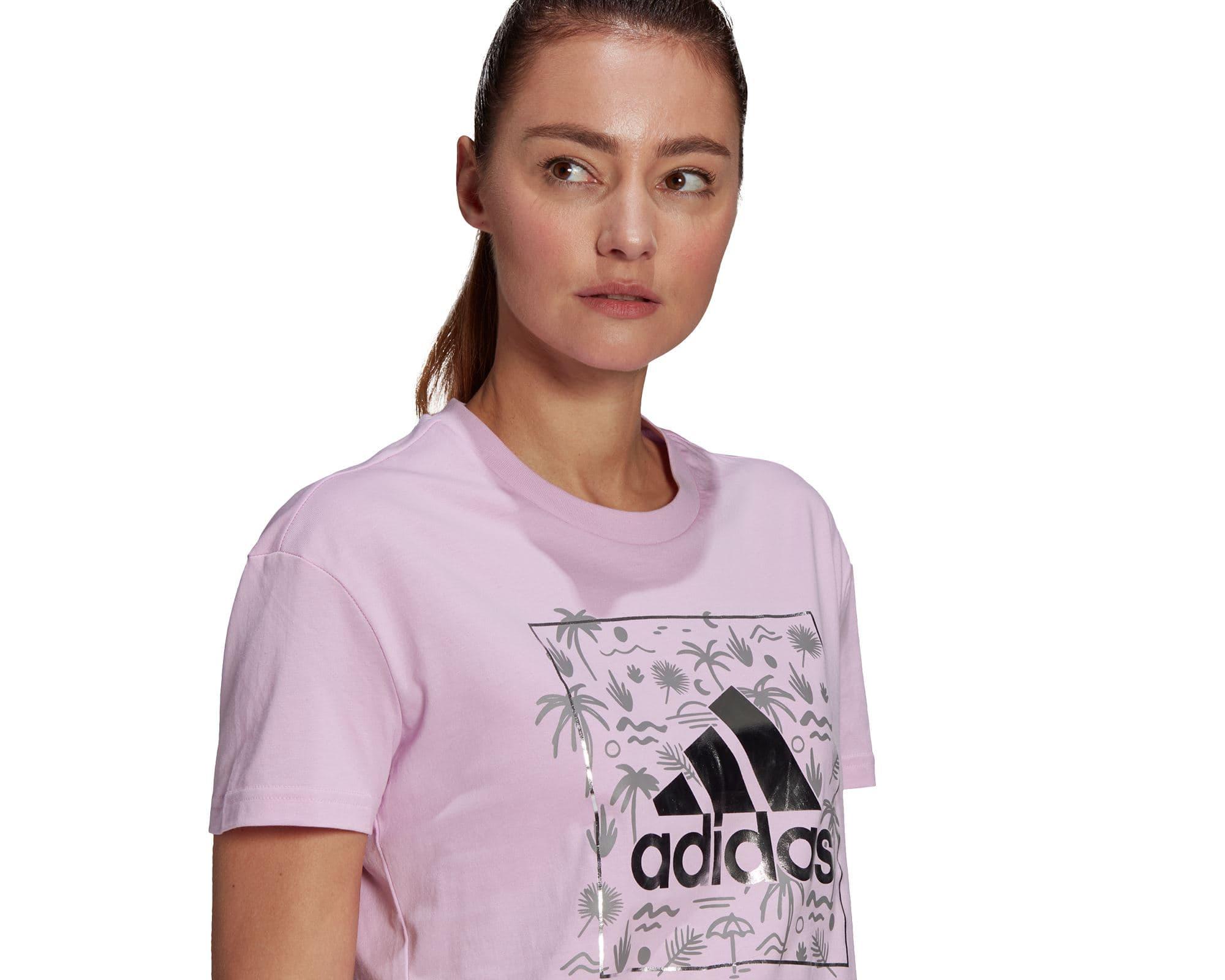 Big Logo Foil Graphic Kadın Lila Tişört (GL0999)