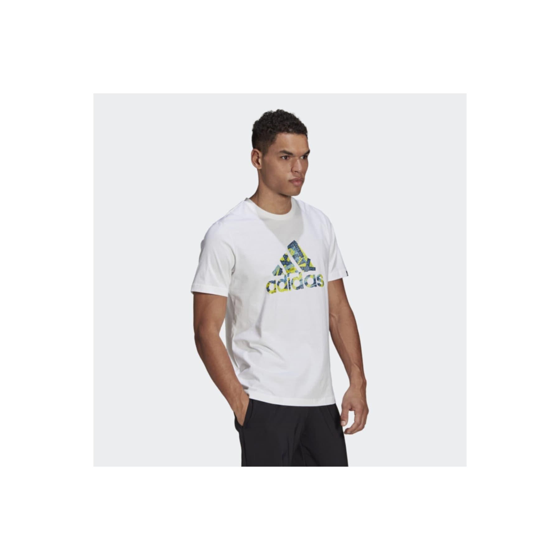 Branded Tape Logo Graphic Erkek Beyaz Tişört (GL3700)