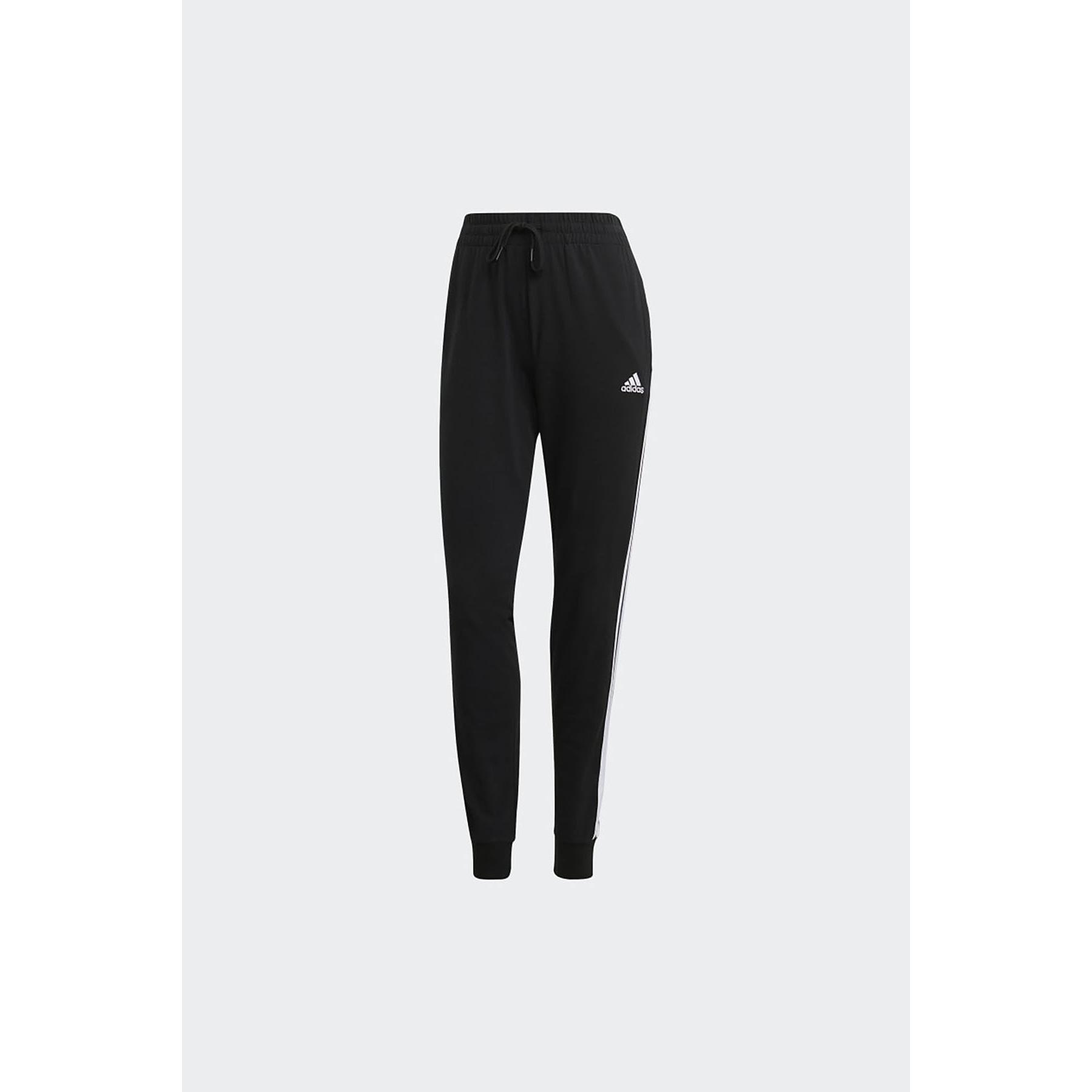 Essentials Single Jersey 3-Stripes Kadın Siyah Eşofman Altı (GM5542)